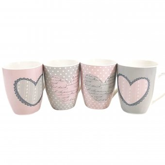 Set 4 cani portelan HEARTS