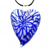Pandantiv Murano PURPLE HEART, 6 CM